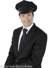 Ladies Mens Adult Black Chauffeur Hat Taxi Police Uniform Fancy Dress Accessory