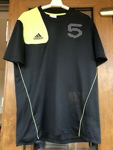 ADIDAS black and yellow mens sports top size M
