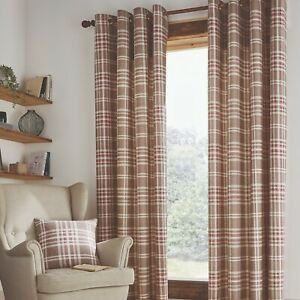 Catherine Lansfield Tweed Woven Check Unlined Eyelet Curtains Pair Natural