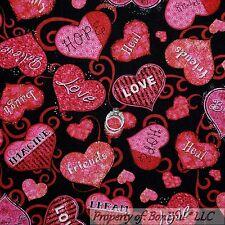BonEful Fabric FQ Cotton Quilt Black Red Pink Love Heart Flower Swirl Scroll B&W