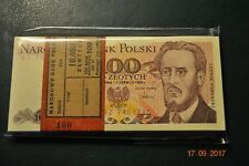 PACZKA FULL BUNDLE 100 PCS POLAND 100 ZLOTYCH NZ 1986 UNC RARE SERIES