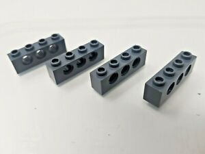 4 x LEGO Technic Dark Grey Brick - 1x4 with Holes - 3701