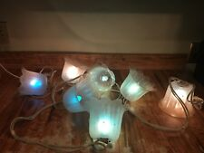 Vintage Kitschy Homemade Fairy Lights 7 Floral Plastic Globes