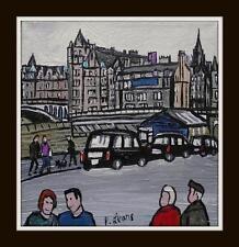 Edimburgo TAXI WAVERLEY Bridge: ORIGINALE DEL NORD ARTE PITTURA A OLIO Phil Lewis