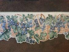 "York Wallpaper Border Scalloped 10"" Concord (Purple) Grapes Basket Leaves FS4738"