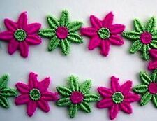 """Vintage Venise Lace Daisy Chain 1""""  Pink & Green 3 yd. (90pcs} Daizy Ribbon 2228"""