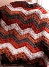 CROCHET handmade baby blanket afghan lap chevron ripple VANNA yarn brown autumn