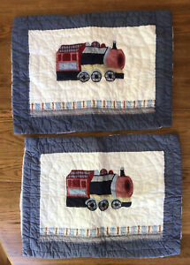 2 Pottery Barn Kids Railway Express Bedding Blue Trains Standard Pillow Sham