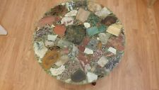 1968 GEMSTONE TABLE! LOT'S OF AGATE LAPIS QUARTZ #3 VINTAGE RESIN TABLE LARGE