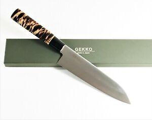 GEKKO SKS93 Stainless Clad Bunka Knife 180mm Roasted Magnolia Handle #3003