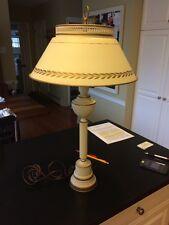 Vintage Metal Tole Table Desk Lamp Toleware Milk Glass Globe Mid-Century Nice