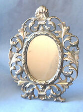 Gorgeous Antique Baroque Decorative Silver Plated Stand Mirror