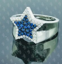 1.00ct Mens Star Ring With Blue & White Cubic Zirconia Engagement Ring Silver