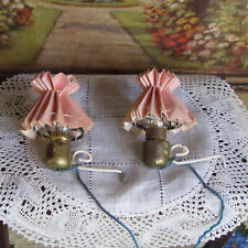 Antique Dollhouse PINK LAMPSHADE LAMP LOT Electric Light Vtg Shabby Chic German?