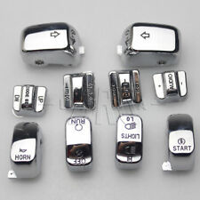 Chrome Carved Hand Control Switch Cover Button Caps for Harley SOFTAIL DYNA FLHT