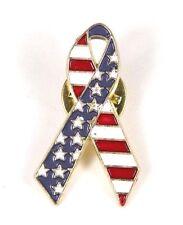 American Flag Ribbon Pin Stars & Stripes Fourth of July Patriotic