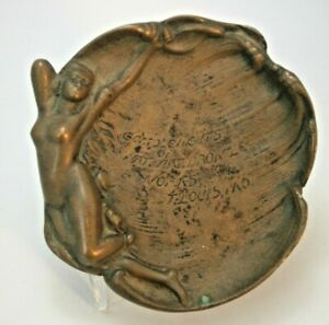 """""""Complements of Nat. Art. Bronze Works, St. Louis"""" Advertising Tray with Nude"""