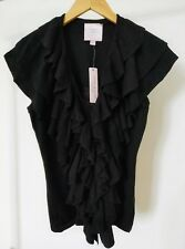 Romeo & Juliet Couture | V-Neck Ruffle Sweater Cardigan Vest Top Black NWT Small