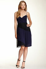 £280 JILL STUART NAVY BLUE BLACK LACE PLEATED DRESS UK10 US4