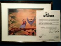 PETRIE AND FAMILY LAND BEFORE TIME BLUTH STUDIOS KEY PRODUCTION CEL SETUP,FRAMED