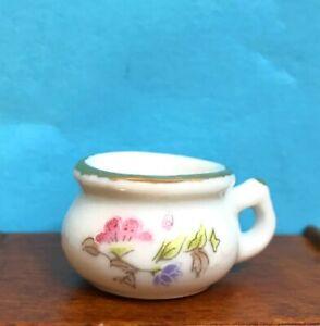 Dollhouse Miniature  Porcelain Floral Potty