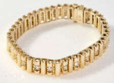 #013 Rolex Style 14k Yellow Gold 2.2 Carat Round Cut Diamond Bracelet Not Scrap