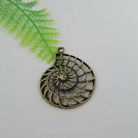 18pcs/lot Antiqued Bronze Alloy Hollow Conch Pendant Charms 35*30*4mm 39393