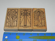 Stampin Up Stained Glass II Stamp Set 3 Cross Angel Flowers
