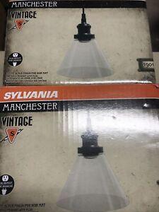 TWO 1-Light Antique Black Glass Ceiling Pendant by Sylvania Vintage Matte Black