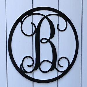 """Metal Vine Monogram Custom Letter Black or White 12"""" 16"""" 24"""" Metal Art"""