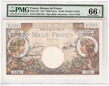 France 1000 Francs Banknote 1944 Pick# 96c PMG Gem UNC 66 EPQ Vintage Large Size