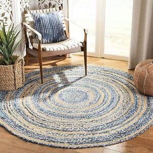 Rug Natural Jute & denim reversible modern carpet living rustic look area rug