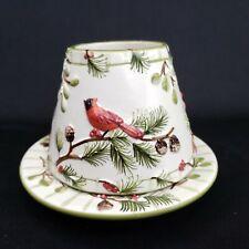 Yankee Candle Jar Topper Small Shade Plate Set Cardinal Bird Winter Pine Tree