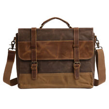 Vintage Men Genuine Leather Satchel Shoulder Laptop Bag Messenger Briefcase
