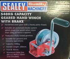 Brand New Sealey GWC1200B Geared Hand Winch with Brake and Cable 540kg Capacity