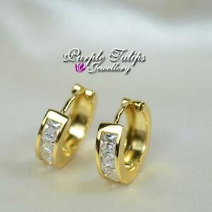 18CT Yellow Gold  Filled  Huggie Stud Earrings Made With Swarovski Crystal
