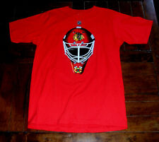 Chicago Blackhawks Goalie Mask Reebok Red T-Shirt Marty Turco #30 NHL Medium M