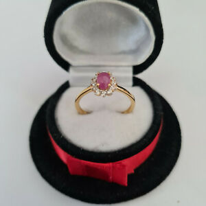 Beautiful Ruby and Cambodian Zircon halo ring in 14k Gold over Sterling silver