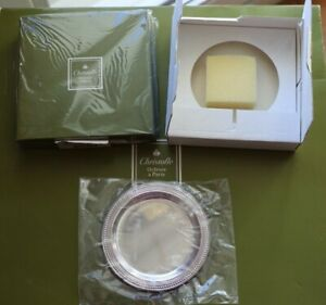 GLASS COASTER  CHRISTOFLE PERLES DISH PLATE Silver plated + BOX NEW