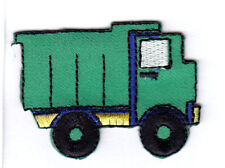 DUMP TRUCK, GREEN - VEHICLE - TRUCKS - Iron On Embroidered Applique Patch