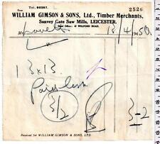 1950 - Leicester - William Gimson & Sons Ltd - Timber Merchants - Billhead