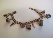 """with 925 charms 8"""" Long (29) Vintage sterling double link charm bracelet"""