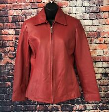 NYC Whet Blu Women's Red Leather Bomber Moto Jacket Size PS