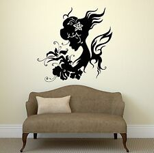 Wall Decal Silhouette Beautiful Woman Butterfly Flowers Vinyl Stickers (ig2859)