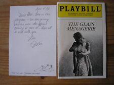 JULIE HARRIS - GLASS MENAGERIE ORIGINAL THEATRE PROGRAMME & SIGNED LETTER 1994