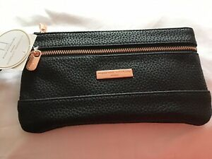 """8"""" 4"""" Adrienne Vittadini Purse/Wallet Black With Rose Gold Zips Rfid Protection"""