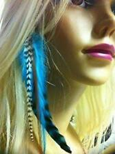 5 Feathers for Hair Extensions 4 -7 in Length Indian Blue Wide Fluffy Feathers f