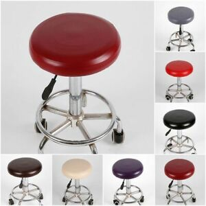 Home Stool Cover Round Elastic Slipcover Chair Protector Seat Cushion PU Leather