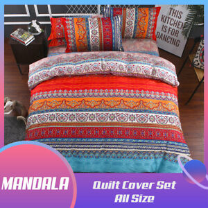 Striped Mandala Quilt/Doona/Duvet Cover Set Single Double Queen King Size Bed