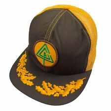 New listing Vtg 80s Forestry Logging Trucker Hat Brown Yellow Embroidered Brim Logger Nos